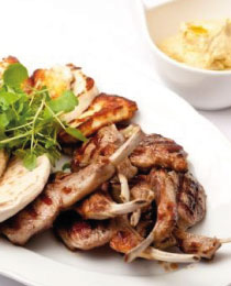 Grilled Welsh Lamb Cutlets with Hummus & Halloumi