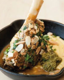 Welsh Lamb Shank with soft Polenta & Persian Lime Pesto